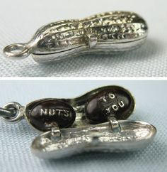 """""""Nuts to You"""" Miniature Peanut Opens to WW2 Message Vintage Silver Charm 