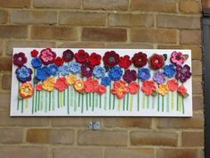 Crochet Flowers on Canvas