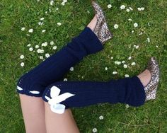 Over-the-Knee Crochet Leg warmers with bows, $45