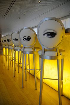 Whimsical bar stools at the Sanderson Lounge Bar, London are by Philippe Starck. A tribute to Italian designer Fornasetti?
