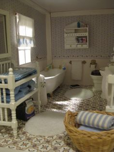 Miniature Dollhouse Bathroom