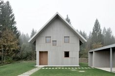 Designed by Slovenian architecture firm Bevk Perovic Arhitekti, House R is a charming rural home in the Alpine village of Bohinj, Slovenia. Types Of Architecture, Residential Architecture, Architecture Design, Bohinj, Weekend House, Traditional House, Outdoor Structures, House Design, Alpine Modern