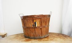 vintage 1940s Large Old Worn Handled Orchard Basket // Perfect Harvest Autumn Home Decor