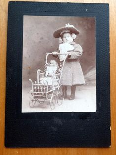 Antique CABINET CARD  LITTLE GIRL ANTIQUE DOLL VICTORIAN PRAM STROLLER