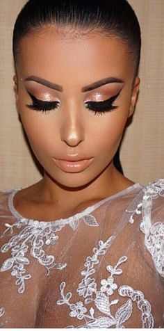 Stunning Eye Makeup.  Beautiful Lashes.  Makeup foundation and blush.