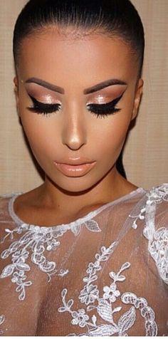 Stunning Eye Makeup.  Beautiful Lashes.  Makeup foundation and blush.