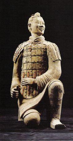 Pottery Figurine Kneeling Archer, China Qin Dynasty