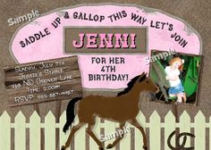 HORSE Birthday Party PHOTO Invitation Equestrian Girls Invite Farm Derby Girl Cowgirl - Greeting Cards & Invitations - Design only $14.98 and you print where ever you like as many as you like!!