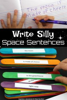Space themed writing and grammar activity for early elementary and Key Stage 1. Construct sentences using the Silly Sentence prompts and write a story.