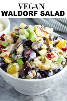 This Vegan Waldorf Salad is bursting with fresh flavors of apple, celery, grape, walnut and raisins in a creamy vegan mayonnaise dressing, the perfect salad for summer cookouts or the holiday menu. #applesalad #waldorfsalad #salad #vegan #easyrecipe