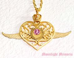 Sailor Moon Necklace - Sailor Moon Crisis Moon Compact Inspired - Gold Wing Crown Heart Sailor Moon Necklace Jewelry Valentines Day Gift