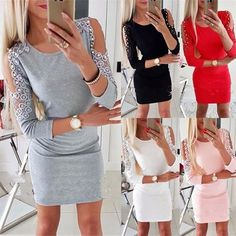 Women Sexy Lace Patchwork Sheath Party Dress Ladies Hollow Out Sleeve O Neck  Solid Dress 2018 Winter Elegant Fashion Dress 3c338e6bbcd9