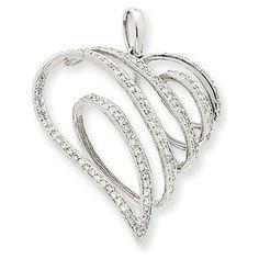 14k White Gold Diamond Swirl Heart Pendant