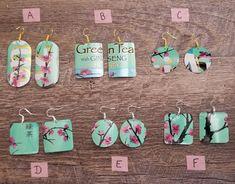 Items similar to Handmade Arizona green tea earrings . on Etsy Funky Earrings, Diy Earrings, Polymer Clay Earrings, Diamond Earrings, Recycled Jewelry, Handmade Jewelry, Cute Jewelry, Jewelry Crafts, Arizona Green Teas