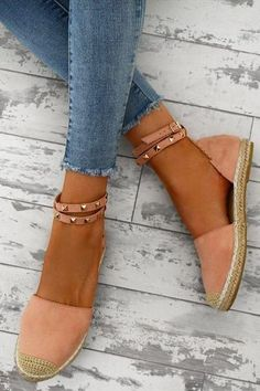 7a6728823b66 Flat Rope Soled Cotton Espadrilles w  Studded Ankle Strap - Whatlovely Pink  Espadrilles