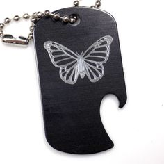 "Butterfly Black Key Chain With 4"" Chain Dog Tag Aluminum Bottle Opener EDG-0307"