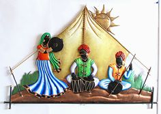 Rajasthani Musicians in the Desert - Wall Hanging - Other Metal Statues (Wrought Iron)