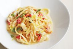Linguine with Crab, Lemon, Chile, and Mint Great with Chilean crab meat