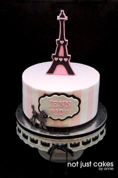 Pink And Black Paris Themed Cake - I have never been to Paris and this is probably the closest i will get to being there. When Cathy (jenn's mom) approached me with her daughter's birthday theme, I got super excited. Another cake off of my bucket list. First time to do all over vertical striped pattern and thank you to Lesley of Royal bakery for posting her tutorial (if i did anything wrong, it's only because i did not read thru the whole thing, which is to be expected of me) I was able to…