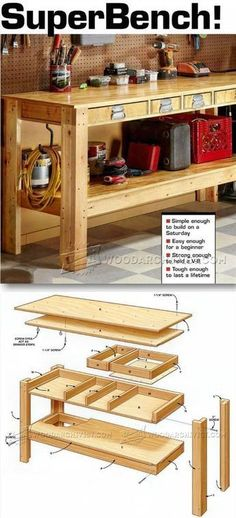 Simple Workbench Plans - Workshop Solutions Projects, Tips and Tricks - Woodwork, Woodworking, Woodworking Plans, Woodworking Projects Simple Workbench Plans, Woodworking Bench Plans, Teds Woodworking, Woodworking Projects, Workbench Ideas, Garage Workbench, Workbench Organization, Woodworking Classes, Industrial Workbench