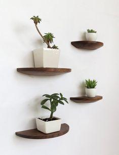 Set of four half round walnut shelves by offcutstudio on Etsy