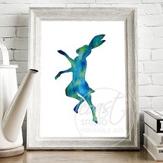 Boxing Hare/ Watercolour Printable Art / Instant Download / Christmas Gift / Gift for her / Blue Green Colourscheme / Printable Decor by CoastStudioArt on Etsy