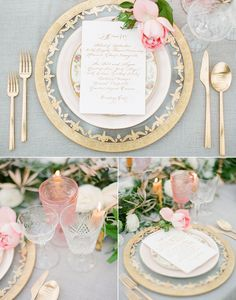 2014 Bridal Horoscopes | Libra: Gold Glass Charger, Le Melange China, 24K Gold Flatware, Pink Goblets, Cut Crystal Glass and Champagne Coupe. // Casa de Perrin via Flutter Magazine More