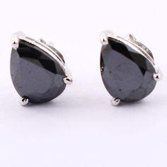 CERTIFIED 4 CARATS BLACK DIAMOND PEAR SHAPE EAR STUDS Black Diamond Earrings, Ear Studs, Pear Shaped, Cufflinks, Glasses, Accessories, Eyewear, Eyeglasses, Jacket Earrings