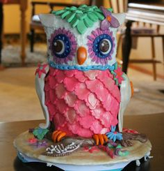 Owl Cake - Owl Cake, covered in ganache and fondant, for 12 year old Birthday..