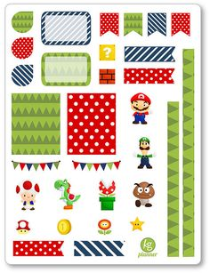 Mario Decorating Kit / Weekly Spread Planner Stickers for Erin Condren Planner…