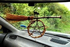 Pagan Gift. Wiccan Luck / Protection Car Amulet. Witches Cat, Besom & Pentacle.. alittle scaling down on the size needed for my taste but very cute.