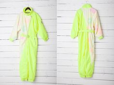 1980s A Bright Green Neon and White Skirwear by CoverVintage, $39.00