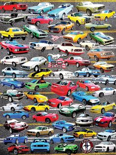 50 Years of Mustangs Cars Jigsaw Puzzle
