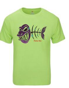 Angry Bone Fish Tee-Green & Purple