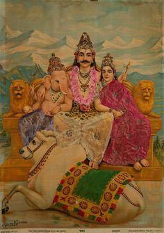 Ravi Varma dressed print Shiva family