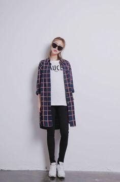 Plaid Shirt Casual Korean Fashion Outfit