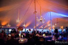 tented wedding hanging decor, chandeliers and uplighting