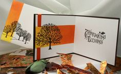 Autumn Tree - Card interior & envelope (on left) - Canson 130 lb hot pressed watercolour paper, masked, brayered colour, die cut tree, heat embossed silhouette on envelope.