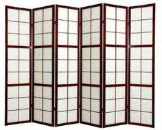 """Oriental Furniture Asian Home Decor 6-Feet Mado Japanese Privacy Screen Room Divider, 6 Panel Rosewood by ORIENTAL FURNITURE. $274.00. Solid 100-percent kiln dried spruce, classic japanese design, convenient two way hinges. Tough fiber reinforced pressed pulp paper shade, allows diffused light, lattice front side only. Browse our huge selection of japanese, chinese, asian décor, room dividers, art, lamps and gifts. 71.5"""" by 17"""" panels, 4 sizes in 5 colors. A h..."""
