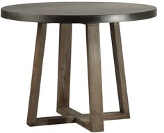 """measures: 40"""" diam x 30"""" high Stone resin mix top Oak wood base with natural sealed finish Please allow 2-3 weeks"""
