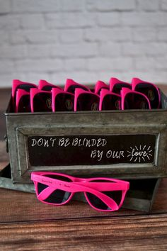 The perfect souvenir for a sweet sixteen party, bat mitzvah or graduation party, pink frame sunglasses personalized with the celebrant's name and date make fun party favors everyone will love receiving and wearing at a spring, summer or fall celebration. Create a sunglasses station for guests to help themselves to a pair of sunglass favors during the party. These sunglasses can be ordered at myweddingreceptio... myweddingreceptionideas.com