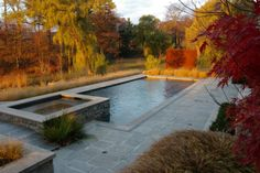 Detailing of stone terraces, pool and steps required an intricate understanding of architecture, soils and site grading. Pool Water Features, Terraces, Pools, Sidewalk, Stone, Architecture, Outdoor Decor, Home Decor, Walkway