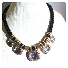 """Gold and bling on chunky twisted cord This is a fun little bling  necklace on black twisted cord.  Chunky gems and chunky gold spacers. Great with t shirt and jeans or a skirt and sweater. 19"""" + extender. Jewelry Necklaces"""