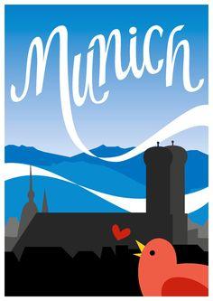 Munich, Germany vintage travel poster | Rosa Kammermeier