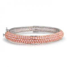 Bling Jewelry Two Tone Pave Pink CZ Rose Gold Plated Bangle Bracelet