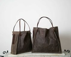 FARMERS MARKET TOTE - waxed canvas and leather with wine bottle pocket - ships today