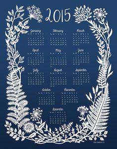 2015-Wand-Kalender botanische Papercut von SarahTrumbauer auf Etsy