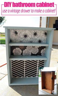 DIY | Bathroom | Organization | Not enough storage in your bathroom? Make your own DIY Bathroom Cabinet from a Vintage Drawer.