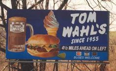 Tom Wahl's burgers, frosty mug of homemade root beer and ice cream. Started in Avon, NY