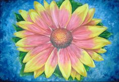Sunflower - original oil painting on canvas, 24 x 36 inches, ready to hang.